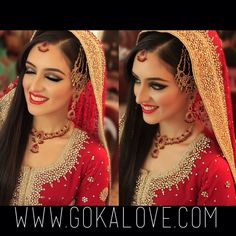 g, Boston Makeup Artist, Boston Hairstylist, Red Lehnga, Jhoomar, Dark Smokey Eye, Red Lips. Check out www.gokalove.com for more! Boston Makeup Artist, Massachusetts, Boston Hairstylist, Indian Wedding, Pakistani Wedding