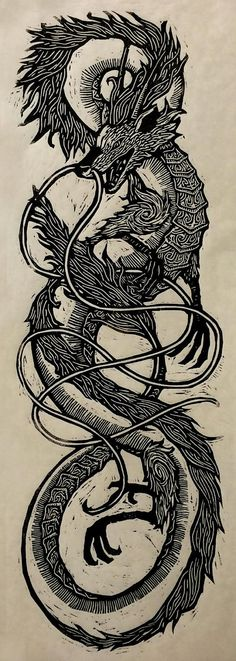 Haku Woodcut via: WoodcutEmporium #dragons #Yellowmenace