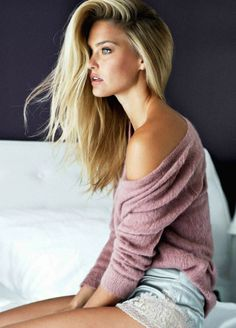 cashmere sweater in blush, silky aquamarine shorts adorned with side lace, wtf I want it on me