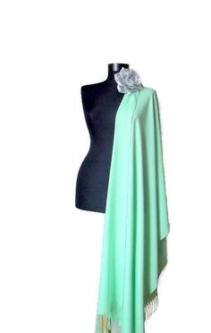 Aqua Green Shawl Light Green Wedding Shawl Mint by RosaShawls