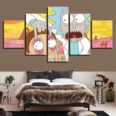 Rick and Morty 5 Panel Canvas Cartoon Wall Art Small Canvas Art, Canvas Art Prints, Canvas Wall Art, Hippie Painting, Cartoon Wall, Hippie Art, Unique Wall Art, Rick And Morty, Framed Wall Art