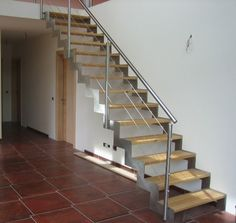 Straight Metal Stringer Stairs With Wood Steps - Google Search