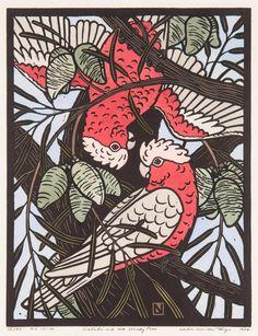 Leslie Vander Sluys - Galahs and Woody Pear 1984 Woodcut x 30 cm Australian Birds, Australian Artists, Australian Plants, Bird Design, Art Deco Design, Linocut Prints, Art Prints, Bird Applique, Bird Artwork