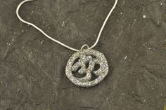 Resin OM Glitter Pendant STERLING SILVER Snake Chain by ChezChani, $9.00 #VHO