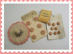 Vintage Sewing Notions, Tiny Sewing Kits and Sweet Old Pink Buttons on the Original Cards.