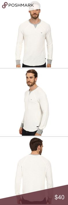 True Religion Men's Longsleve Slub Ranglan Crew Color is listed as Winter White. The lightening in my photo makes it look darker than it appears. Comfortable fit shirt. Worn a couple times and dry cleaned. True Religion Shirts Tees - Long Sleeve