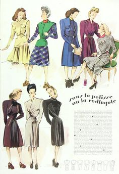 Modes & Travaux French fashion magazine, green winter outfit. From head to trim, the then current fashions are shown in lovely detail. The pages of