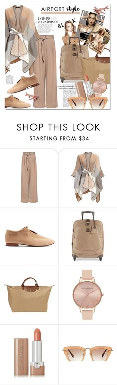 """""""Airport Chic"""" by stylemaven2 ❤ liked on Polyvore featuring TIBI, Martiniano, Bric's, Longchamp, Olivia Burton, Marc Jacobs, Miu Miu, travel, nude and airportstyle"""