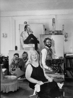 "Alice Neel in her living room studio - was an American artist known for her oil on canvas portraits of friends, family, lovers, poets, artists and strangers. Her paintings are notable for their expressionistic use of line and color, psychological acumen, and emotional intensity. Neel was called ""one of the greatest American painters of the 20th century"""