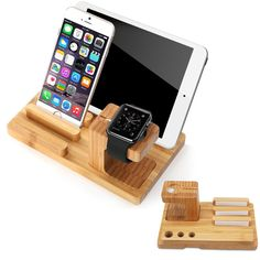 Apple Watch Stand, Aerb Bamboo Wood Charge Dock Holder for Apple Watch & Docking Station Cradle Bracket for iPod iPhone iPad & Other Phones Tablets