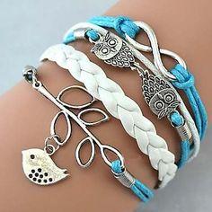 coruja e encantos infinitos pulseiras de couro artesanais                                                                                                                                                                                 Mais