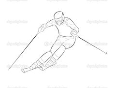 Silhouette of a skier — Stock Vector © Snow Board, Skiers, Winter Sports, Cross Country, Snowboarding, Drawing Ideas, Outline, Art Work, Vector Free