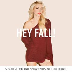 50% off sitewide at Tobi! Just in time for your fall outfits :)
