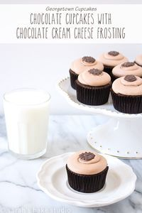 Chocolate Cupcakes with Chocolate Cream Cheese Frosting – a deliciously moist and fluffy chocolate cake crowned with the perfect not too sweet chocolate cream cheese frosting; a Georgetown Cupcakes recipe. via /SarahBakeStudio/