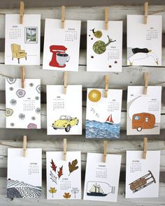 2013 calendar   2013 Illustrated Wall Calendar by sloeginfizz, $25.00
