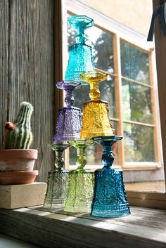 Colorful Glass Goblets - 6 Colors