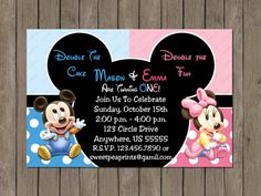 Twin Baby Mickey and Minnie Mouse Boy or Girl No Picture 1st First Birthday Invitation OR Thank you Card on Etsy, $7.00
