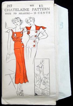Vint 1930's Art Deco Chatelaine Pattern Stunning Beach Dress Frock Fabric Sew 15   eBay