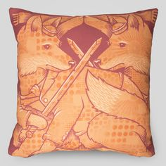 Upper Playground - The Foxes Pillow by Jeremy Fish