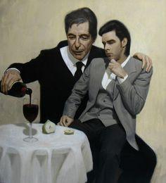 "Australian artist Ben Smith's ""The Influence: Leonard Cohen Consoles Nick Cave"""