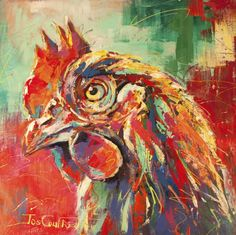 Buy Chicken, a Acrylic on Canvas by Jos Coufreur from Australia. It portrays: Animal, relevant to: red, rooster, birds, blue, Popart, chicken, animals, fun, green, impressionism, nature I love painting animals, does it show?! We have 2 chickens in our backyard, they are such inquisitive birds. A joy to paint in my spontaneous, colourful style.