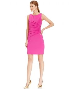 Ivanka Trump Pleated Zipper-Trim Scuba Sheath Dress Women - Dresses - Macy s 5c953643129