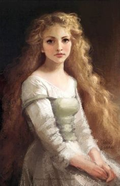 Rapunzel concept art by Claire Keane. The portrait has an overall soft texture which gives it a calm atmosphere.