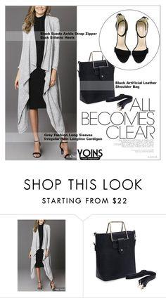 """Yoins42: Gray & Black"" by shambala-379 ❤ liked on Polyvore featuring cardigan, grayandblack and yoins"