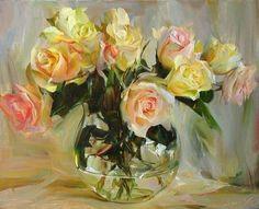 """Мастер класс: Живопись Маслом """"Чайные розы"""" - Ярмарка Мастеров - ручная работа, handmade"""