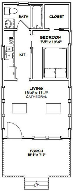 Shed House Plans, Shed To Tiny House, Small House Floor Plans, Cabin Floor Plans, Tiny House Living, Garage Plans, Garage Ideas, Living Room, Tiny House Layout