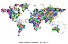 Vector colorful mosaic map of the world.
