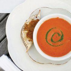 Farmstand Tomato Soup with Arugula Pesto