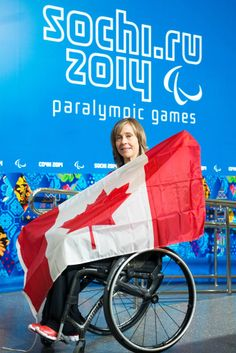 Sochi, RUSSIA - Mar 5 2014 - Wheelchair Curling's Sonja Gaudet is introduced as Canada's opening ceremonies flag bearer prior to the Sochi 2014 Paralympic Winter Games in Sochi, Russia. (Photo: Matthew Murnaghan/Canadian Paralympic Committee)
