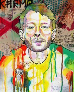 Thom Yorke by Eduardo Bertone Identity Artists, Art Programs, Artist Painting, Graffiti Art, Urban Art, New Art, Illustrators, Cool Art, Art Projects
