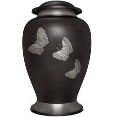 Funeral Urn by Liliane - Cremation Urn for Human Ashes - Hand Made in Brass and Hand Engraved - Fits the Cremated Remains of Adults - Display Burial Urn at Home or in Niche at Columbarium (Papillon in Pewter Finish) (Pewter, Large) -- Find out more details by clicking the image : Home Decorative Accessories