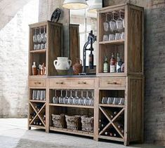 Pottery Barn Bar Console with Towers Diy Home Bar, Bars For Home, Pottery Barn Bar, Bar Hutch, Wine Hutch, Armoire Bar, Home Bar Furniture, Furniture Ideas, Furniture Market