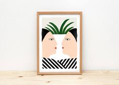 Face to face illustration by depeapa print poster A4 wall
