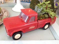 Succulent Garden in Vintage Red Tonka Truck via Etsy