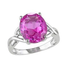 Allura . CT. T.. Simulated Pink Sapphire and . CT. T.. Diamond 3-Prong... ($28) ❤ liked on Polyvore featuring jewelry, rings, variation parent, imitation diamond jewelry, imitation jewellery, artificial jewellery, fake jewelry and fake rings