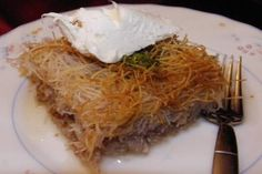 Recipe for Kadayif - a Turkish dessert made from shredded wheat with nuts and sugar syrup. Turkish Sweets, Greek Sweets, Turkish Dessert, Greek Desserts, Turkish Recipes, Ethnic Recipes, Greek Pastries, Eat Greek, Turkish Kitchen