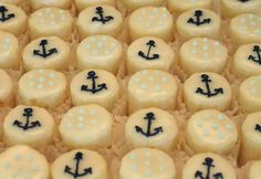 Ahoy!  It's a Boy! Nautical petit fours for a nautical baby shower.
