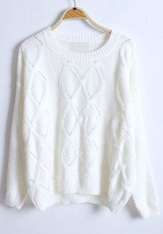 White Long Sleeve Rhombus Hollow Pullovers Sweater