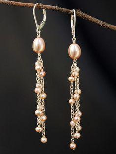 Pink Pearl Multi Dangles design pink Special, Handmade Earrings by Harmony Scott Pearl Jewelry, Wire Jewelry, Beaded Jewelry, Jewellery Uk, Tanishq Jewellery, Jewellery Packaging, Jewellery Stand, Bullet Jewelry, Geek Jewelry