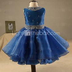 Ball Gown Short / Mini Flower Girl Dress - Organza Sleeveless Jewel with Beading 2017 - £61.59