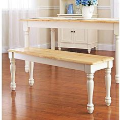Better Homes and Gardens Autumn Lane Farmhouse Bench, White and Natural - Walmart.com