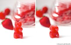 Healthy Homemade Gummy Bears (fat free, sugar free, low carb) - Healthy Dessert Recipes at Desserts with Benefits.maybe on my summer to do list! Sugar Free Desserts, Healthy Dessert Recipes, Candy Recipes, Healthy Treats, Healthy Candy, Hcg Recipes, Baking Recipes, Homemade Gummy Bears, Homemade Gummies