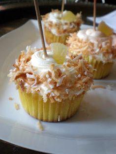 Write a Pumpkin, Bake Some Prose: Tropical Paradise Cupcakes Pound Cake Cupcakes, Cupcake Frosting Recipes, Fun Cupcakes, Cupcake Cakes, Hawaiian Cupcakes, Yummy Treats, Delicious Desserts, Sweet Treats, Yummy Food