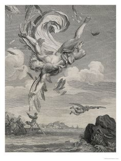 """Picart The Fall Of Icarus"", 1731 by Bernard Picart (1673-1733, France)"