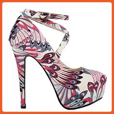 Show Story Glam Peacock Feathers Ankle-Wrap Multicoloured Hidden Platform Stiletto Party Pumps,LF80850RD37,6US,Red - Pumps for women (*Amazon Partner-Link)