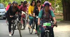 Dozens of women in Pakistan took part in female-only bike races Sunday to challenge male dominance of public spaces in the country. Marathon, Girl Power, Pakistani, Baby Strollers, Bicycle, Challenges, Racing, Female, Jai